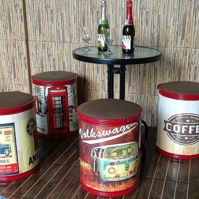 Baca Deskripsi Khusus Bandung Tong Drum Kardus Kursi Cafe Meja Penyimpanan Barang Kerajinan Dll Shopee Indonesia