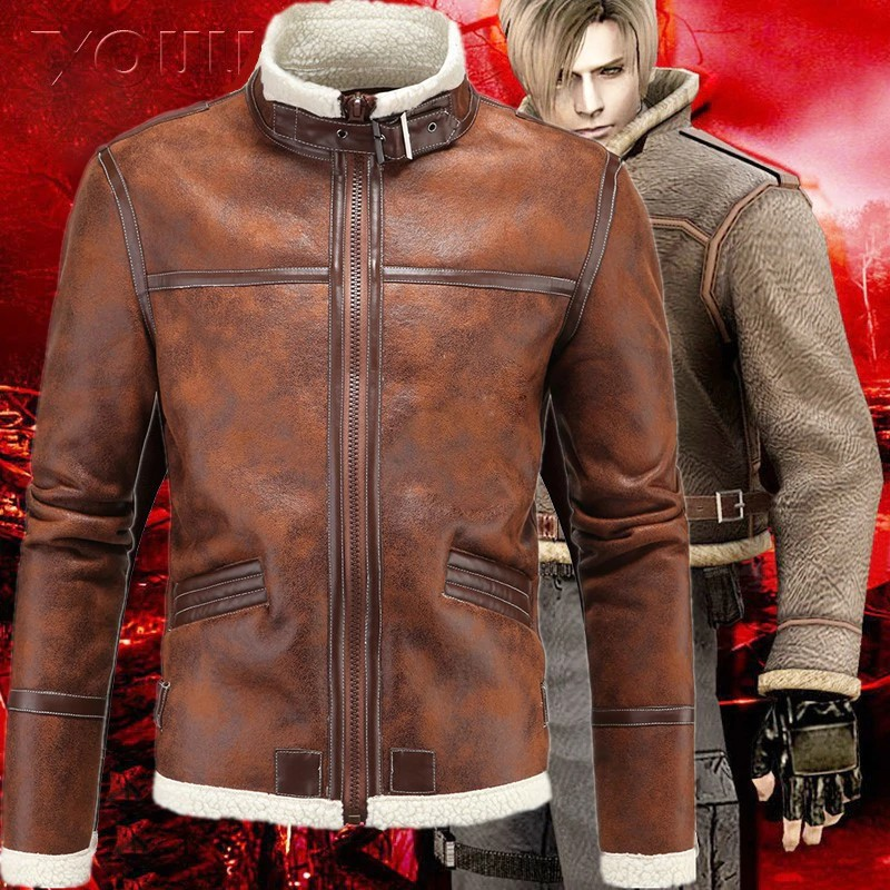 Biohazard Resident Evil 4 Leon S Kennedy Costume Leather Coat Jacket Cosplay Pu Faur Jacket