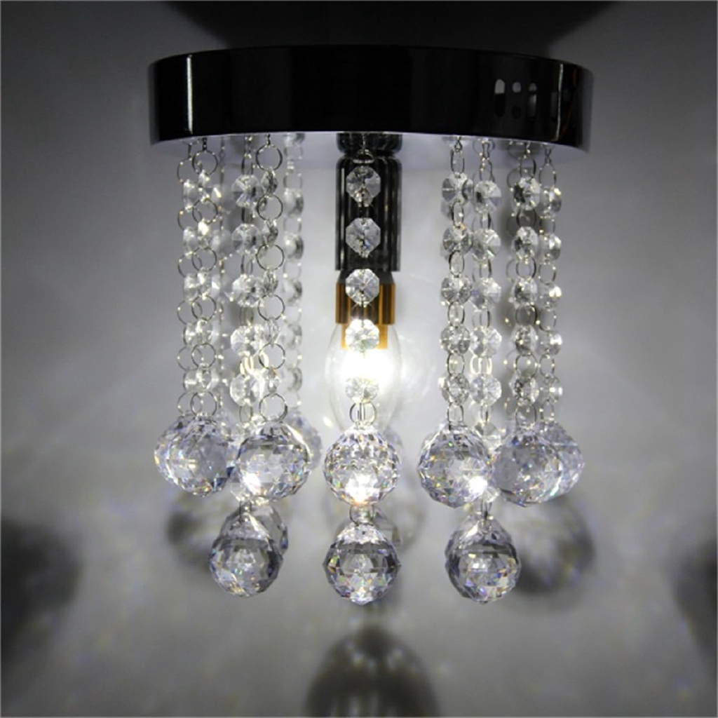 Lampu kristal crystal droplets silver chrome ceiling pendant light chandelier fitting lamp
