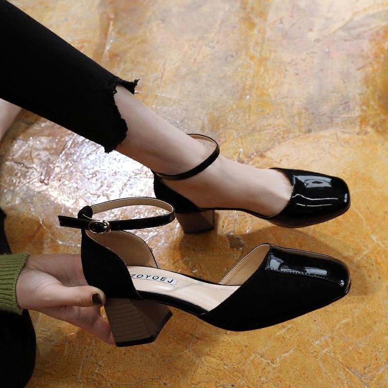 Sepatu High Heels Square Toe Warna Pink/Beige/Hitam Polos dengan Strap Ankle untuk Wanita | Shopee Indonesia