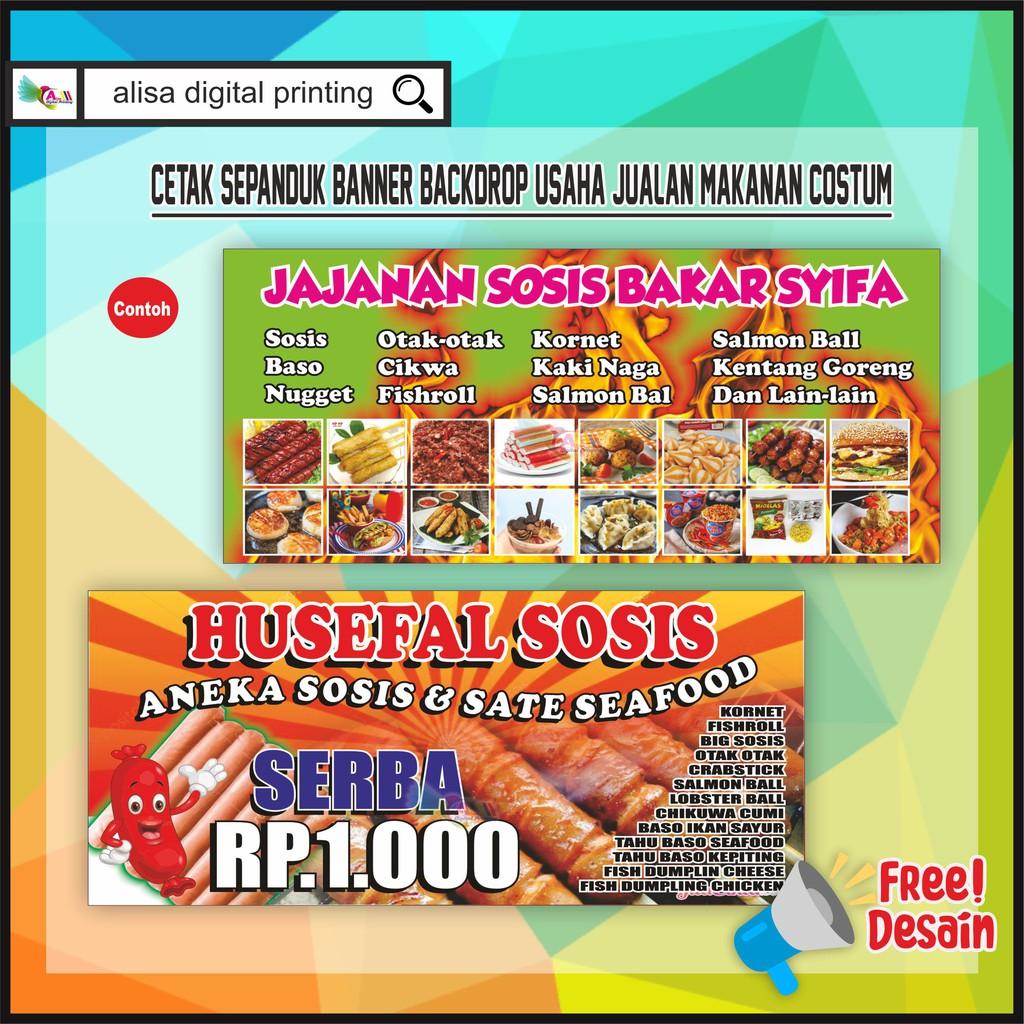 Cetak Spanduk Baliho Jualan Makanan Costum Shopee Indonesia