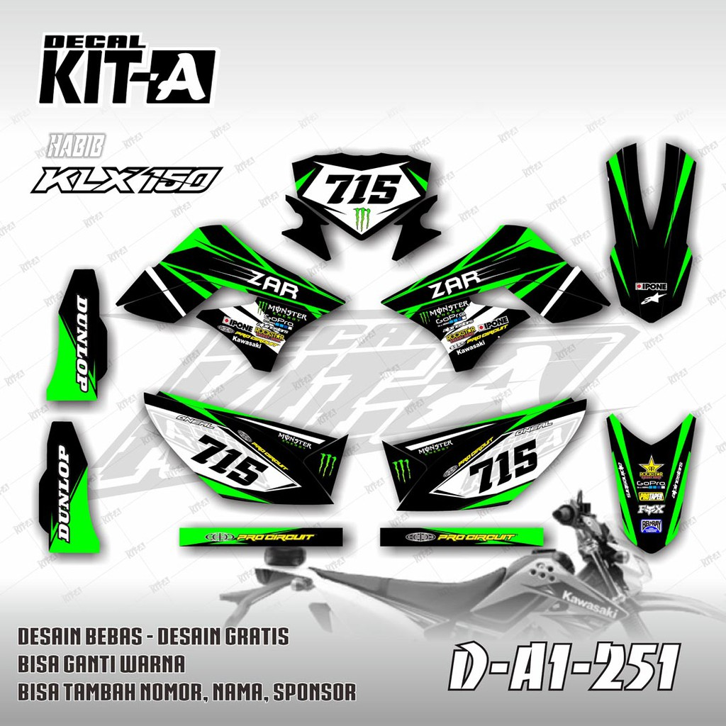 Decal stiker klx 150 s hijau hitam dekal striping sticker dtracker klx 150 a1 251 shopee indonesia