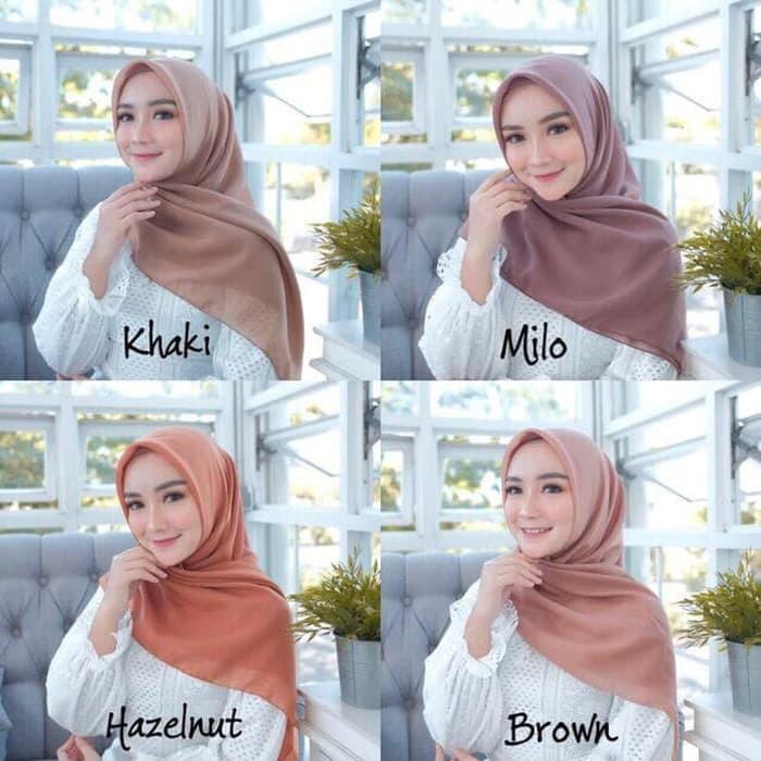 Bella Square Warna Part 1 Hijab Segiempat Mocca Shopee Indonesia