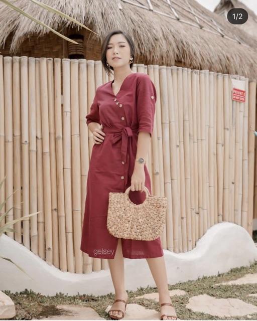 ZARA DRESS Button Dress Premium Cotton Linen Dress Busui Friendly Maxi Dress IMLEK SALE