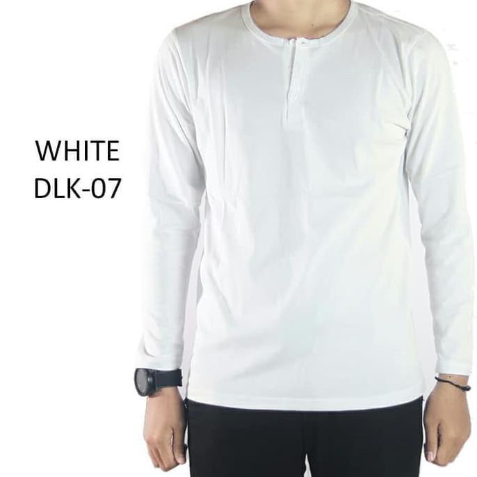 Dapatkan Kaos Polos Pria Henley Kancing Lengan Panjang Warna Putih Dlk07 Putih M Kualitas Baik Shopee Indonesia
