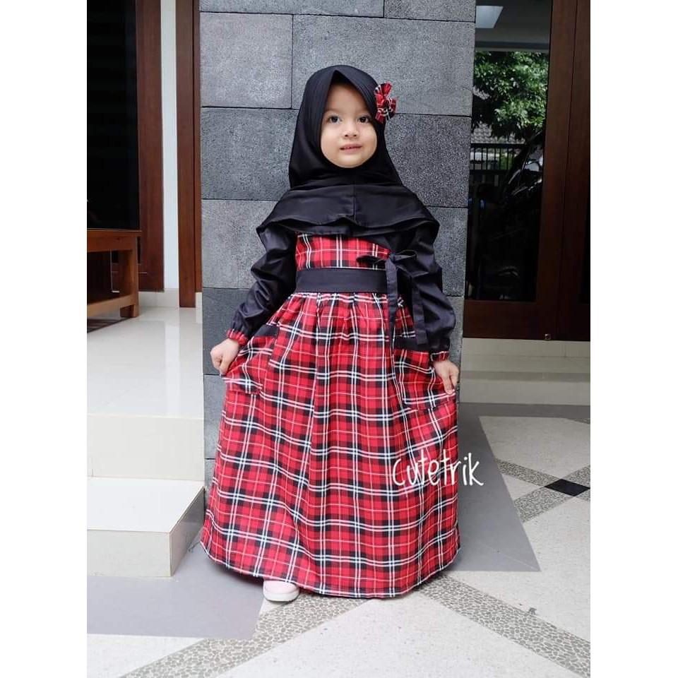 gamis anak cutetrik  baju muslim anak motif kotak bahan katun jepang  10-10tahun