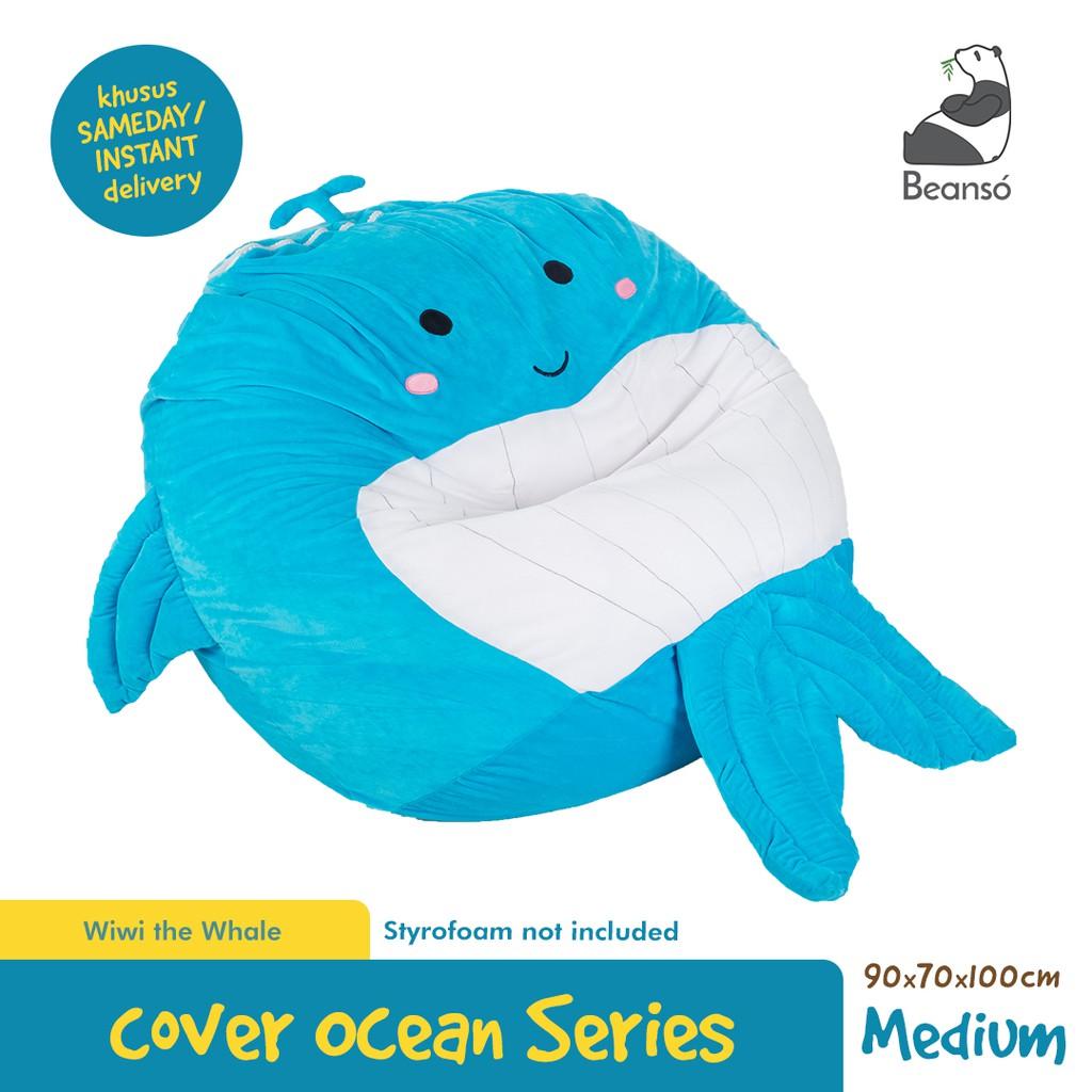 Bean Bag Cover Lucu Bentuk Ikan Paus Ukuran Sedang [Cover Saja]