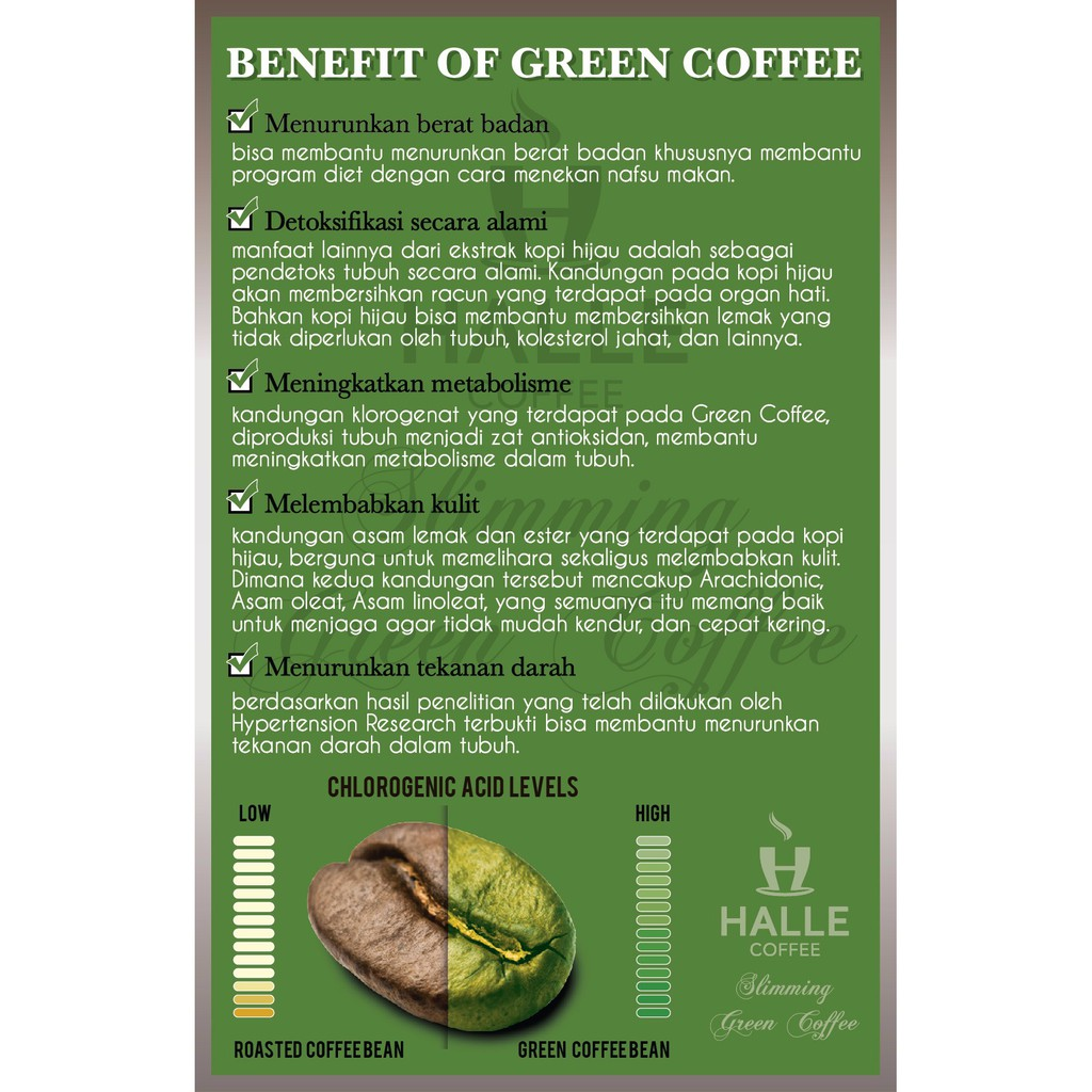Kopi Hijau Diet Slimming Green Coffee Halle 250grambubuk Extract Ekstrak Pelangsing Original Kasar Shopee Indonesia