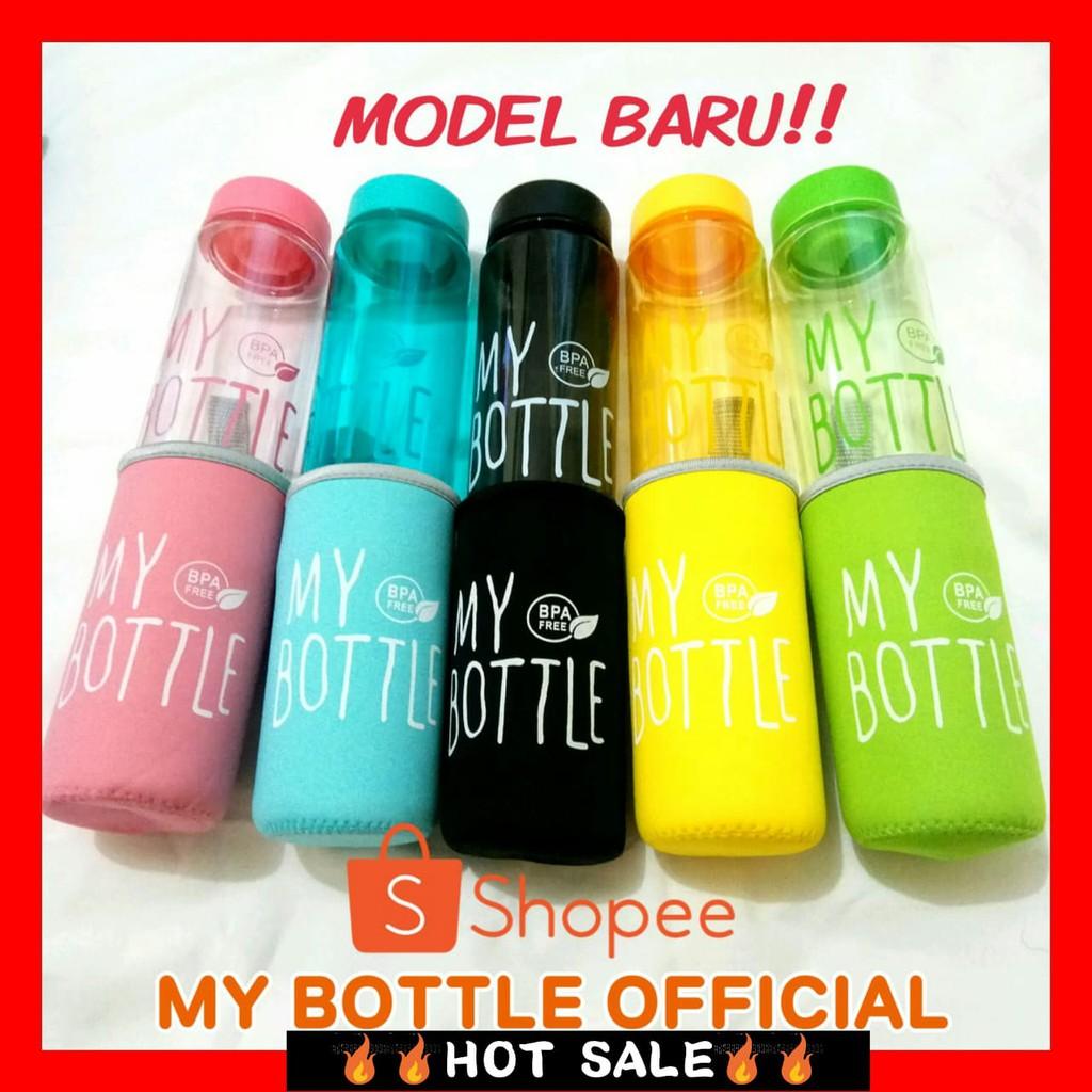 My Bottle Bening Warna Free Pouch Botol Transparan Dengan Tas  Minum Kotak Shopee Indonesia
