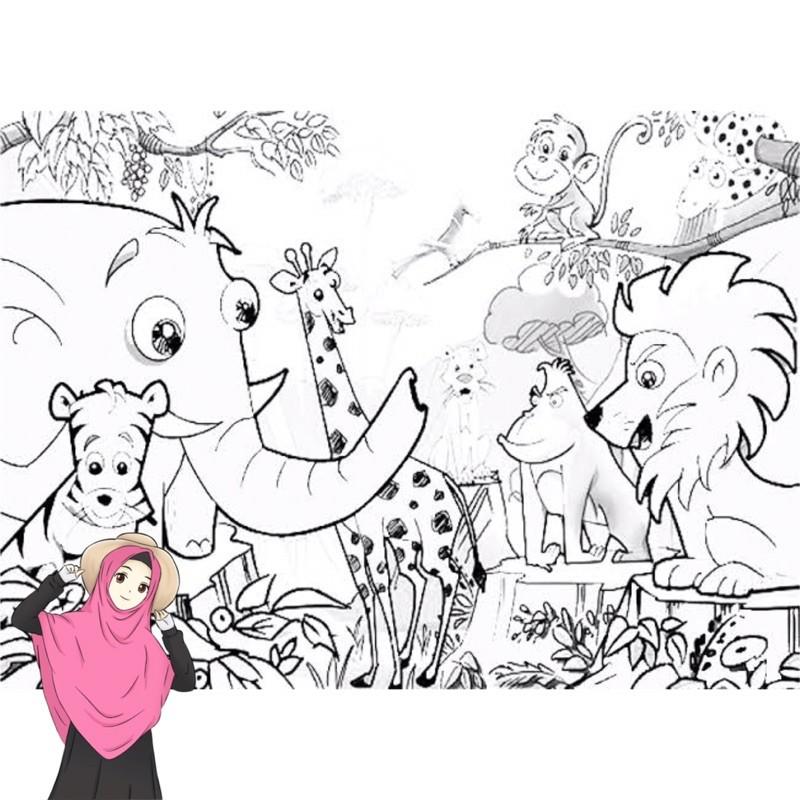 Gambar Mewarnai Pemandangan Hewan Hewan Hutan Desain Untuk Melatih Kecerdasan Anak Anak Shopee Indonesia