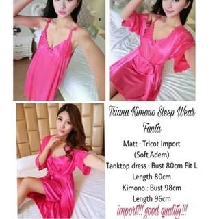 1ece425242 Promo   Baju Tidur Cewek Wanita Piyama Kimono Tanktop Dress Murah High  Quality