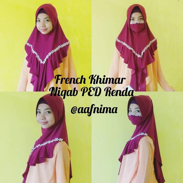 Khimar Sale French Khimar Ped Niqab Masker Renda Rempel Niqob Jersey Premium Hijab Masker Instan Shopee Indonesia