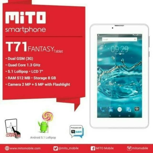 "MITO T71 7"" INCH/3G/GARANSI RESMI"