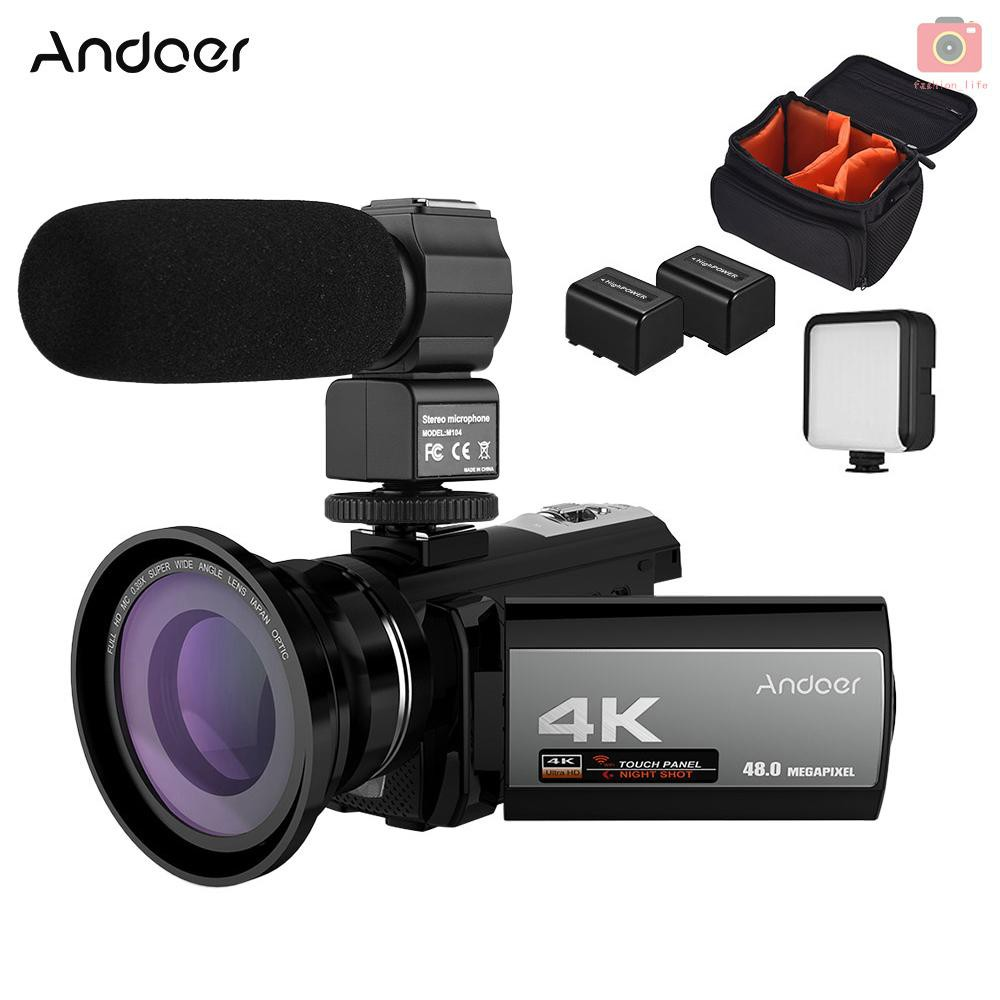 Andoer Kamera Video Digital 4k 48mp Wifi Mikrofon Eksternal Lensa Wide Angle 0 39x 2pcs Lampu Led Mini Tas Baterai Shopee Indonesia