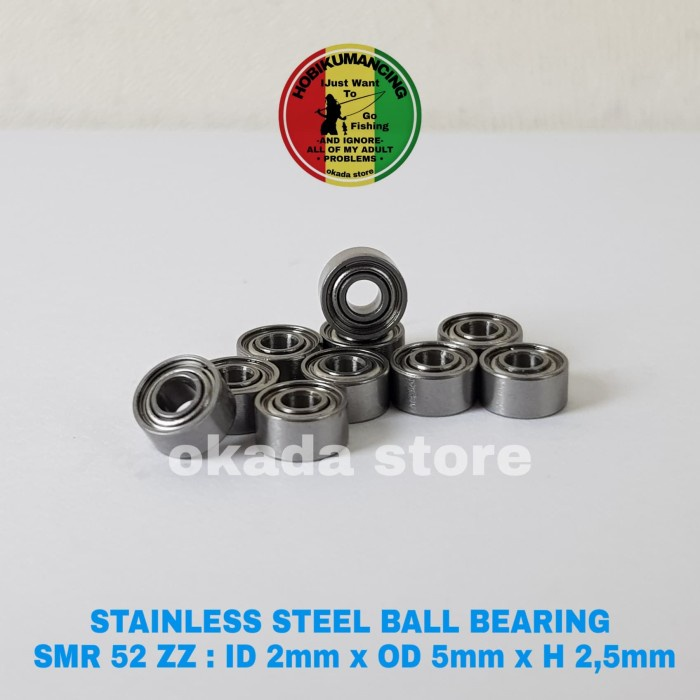 Stainless Steel Ball Bearing Smr 52 Zz : Id 2Mm X Od 5Mm X H 2,5Mm