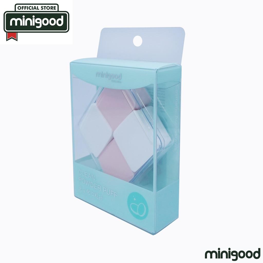 minigood TERLENGKAP sponge make up powder puff set foundation bentuk belah ketupat putih pink 4Pcs   Shopee Indonesia