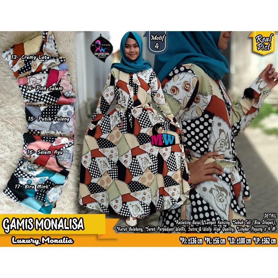 Gamis Katun Motif Panca Monalisa Merah Biru Jepang Original Shopee Indonesia