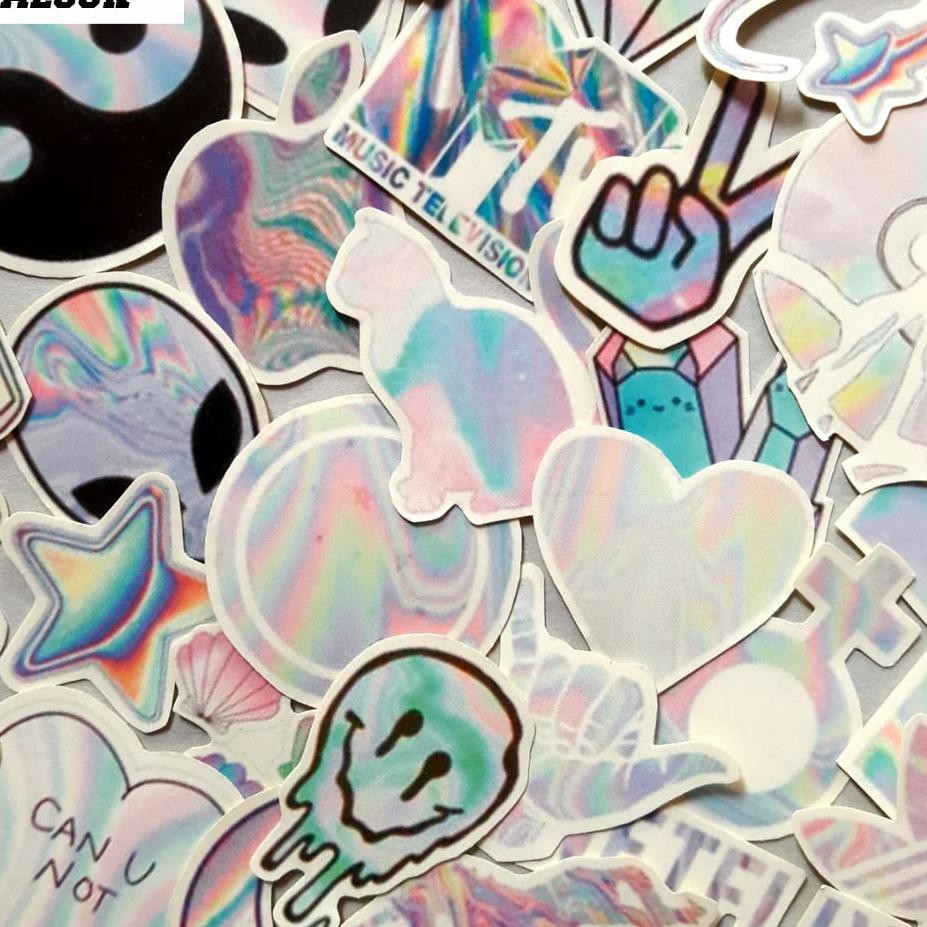 Z7b Paket Sticker Aesthetic Holographic Shopee Indonesia