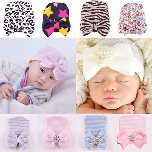 Topi Anak Bayi Perempuan Baru Lahir Dengan Pita Lucu Untuk Hadiah