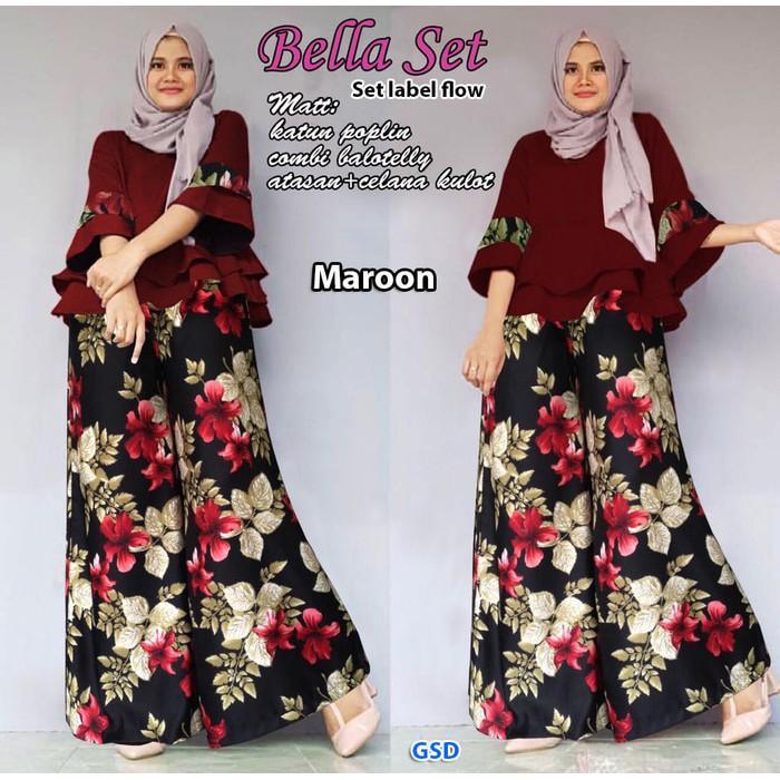 bella set marun/stelan label flow/atasan blus celana kulot bunga hijab | Shopee Indonesia