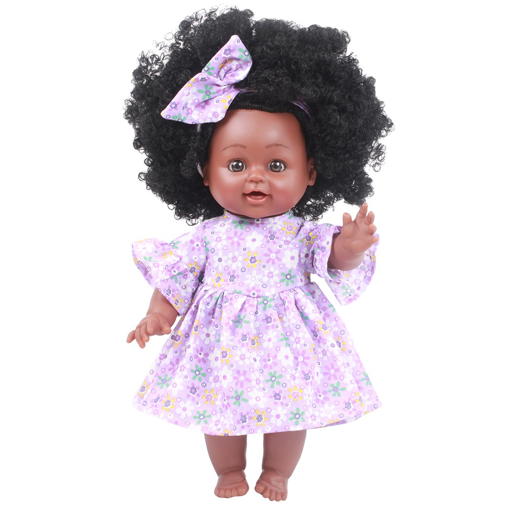 Bonekanya Boneka Bayi Perempuan dengan Rambut Keriting Warna Hitam Ukuran 35cm