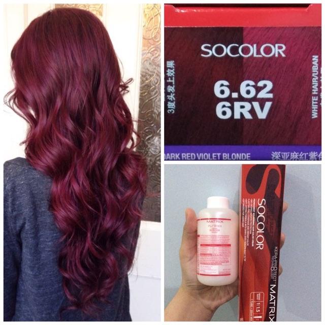 Matrix Socolor 6 62 6rv Dark Violet Blonde Red Burgundy Wine Hair Dye Cat Rambut Merah Ungu So Color