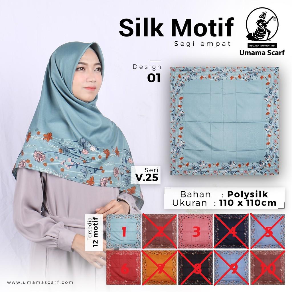 Hijab Kerudung Jilbab Segiempat Motif Satin silk umama Scarf Desain 12