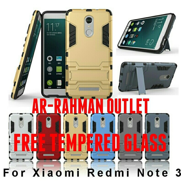 Xiaomi Redmi Note 3 Back Case Casing Armor Robot FREE TEMPERED GLASS   Shopee Indonesia