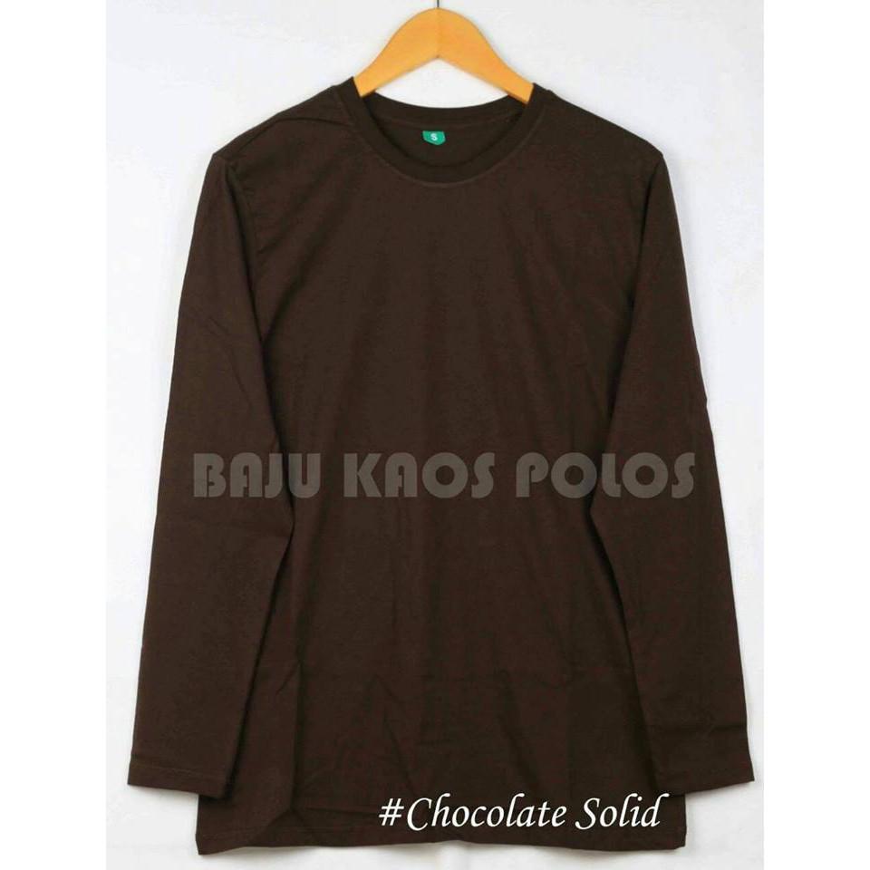 Baju Kaos Polos Maroon Solid Lengan Panjang Distro Combet 30s Unisex Shopee Indonesia
