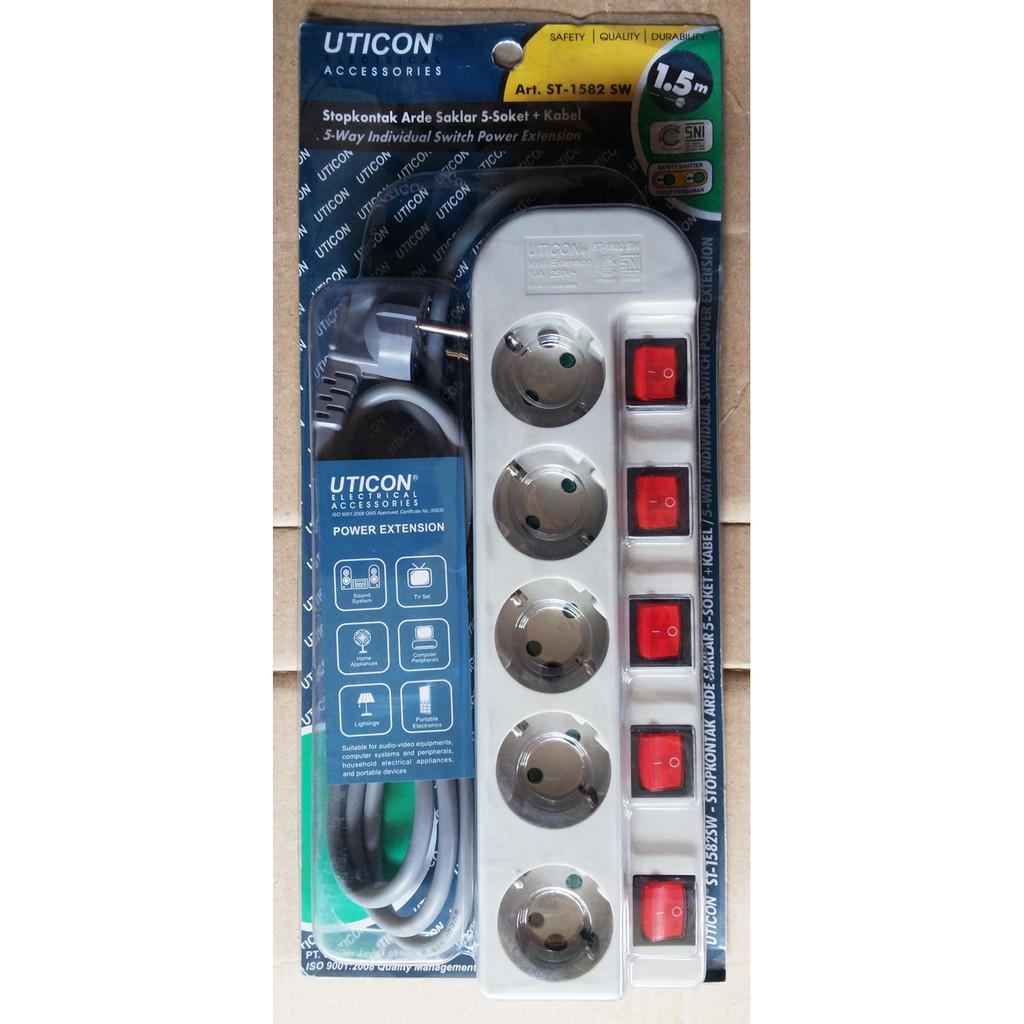 Colokan Listrik / Stop Kontak 5 Lubang ST-1582 SW UTICON | Shopee Indonesia