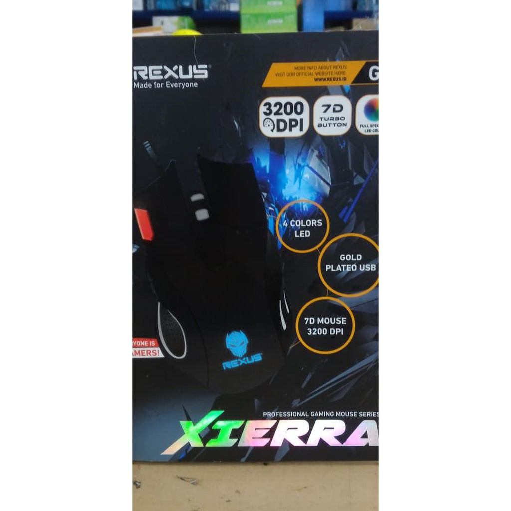 Rexus Elite Gaming Mouse Usb Xierra Rxm X3 7d Led Hitam Spec Dan X9 Fs Terlaris New
