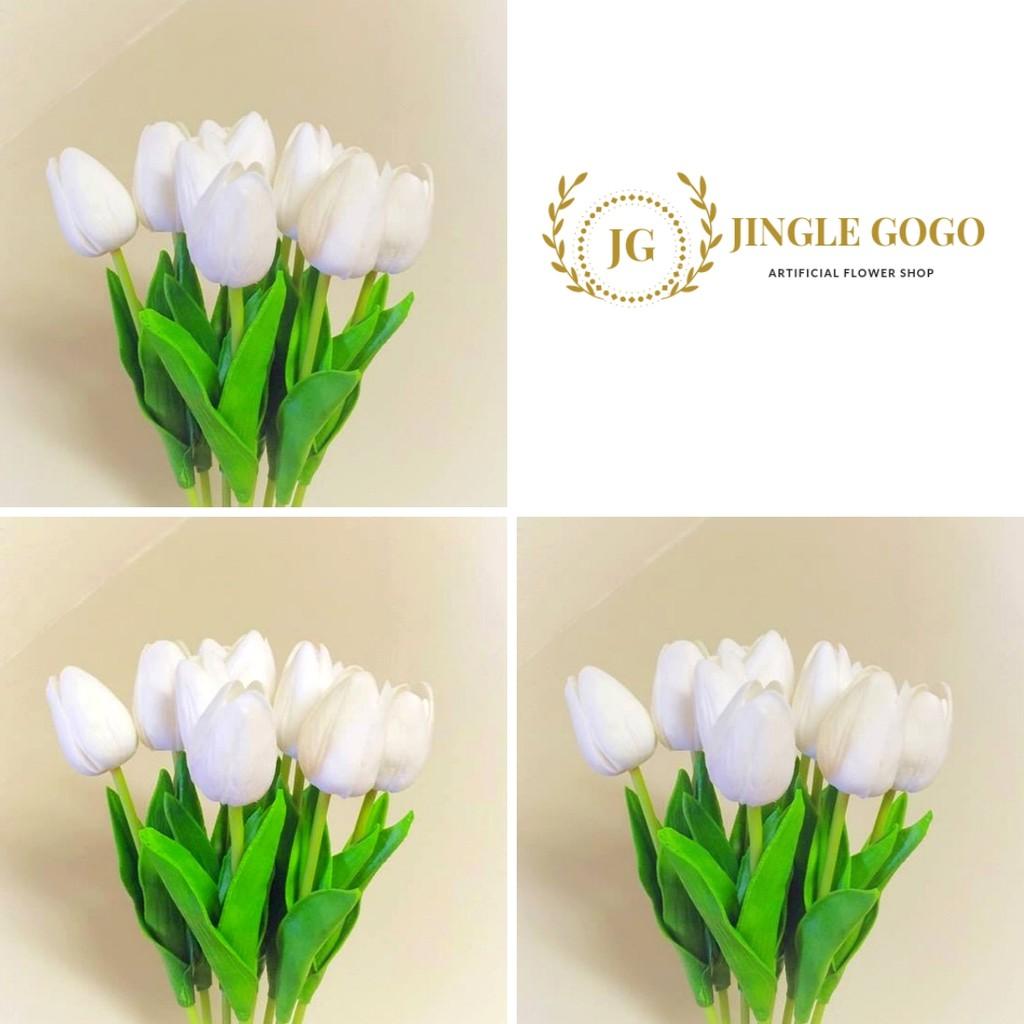 Bunga Tulip Latex Putih Bulat Seperti Asli Artificial Artifisial Imitasi Foto Property Photo Shopee Indonesia