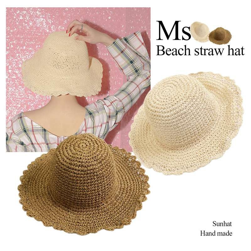 New Women Hand Woven Grass Visor Sun hat Casual Hat Natural Bali Style Unti-UV