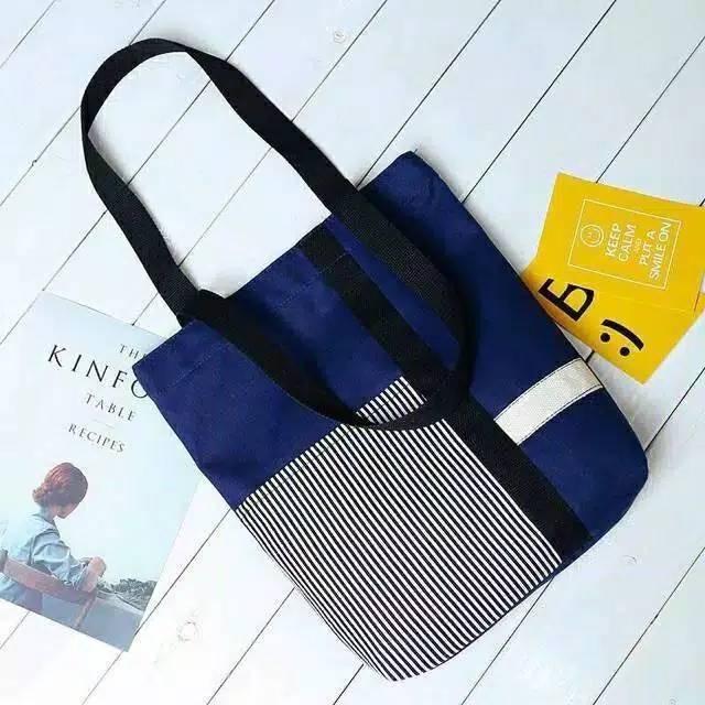 Tas Totebag Salur Tote Bag Korea Fashion Style Kekinian ...