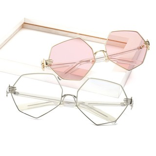 ❤  Gelas kacamata cermin datar Women Metal Frame Colored Lens UV  Protection Sunglasses  8cd1312beb