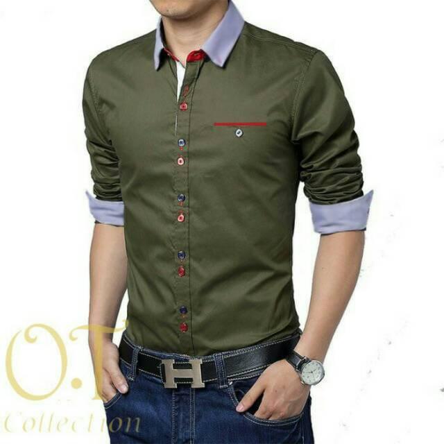 Vincent army OT - pakaian pria kemeja pria lengan panjang hijau army | Shopee Indonesia