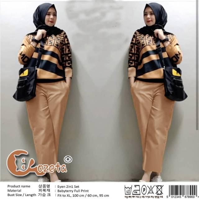 Setelan Baju Wanita St Mifta Fendi Warna Hitam Murah 5403 CB | Shopee Indonesia