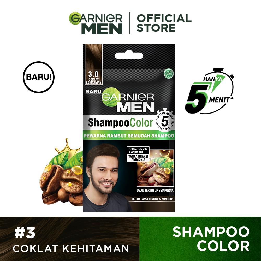 Garnier Men Shampoo Color (Pewarna Rambut Pria Semudah Shampoo)-Dark Brown Sachet