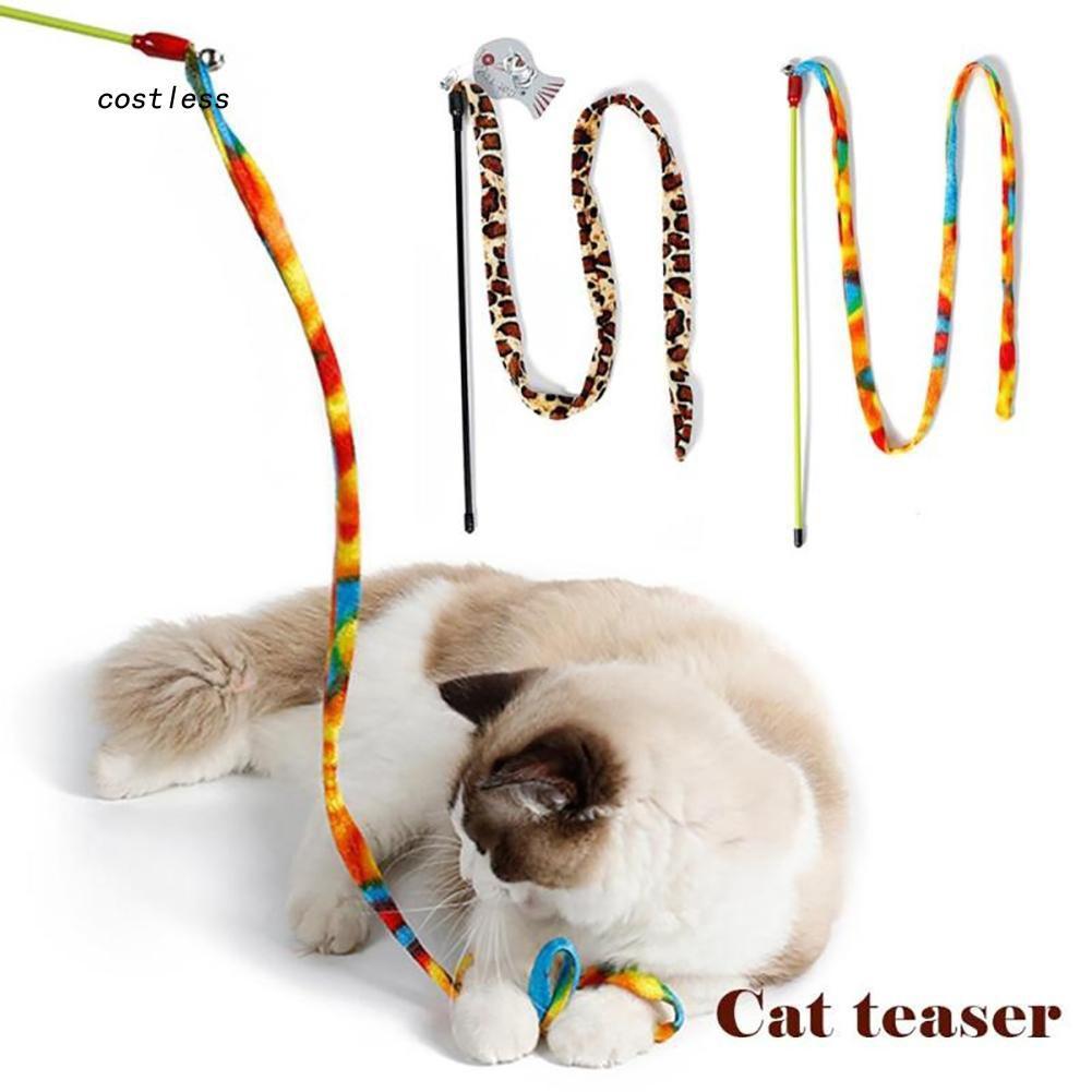 CT Mainan Tongkat Sihir Motif Leopard Warna Pelangi untuk Kucing