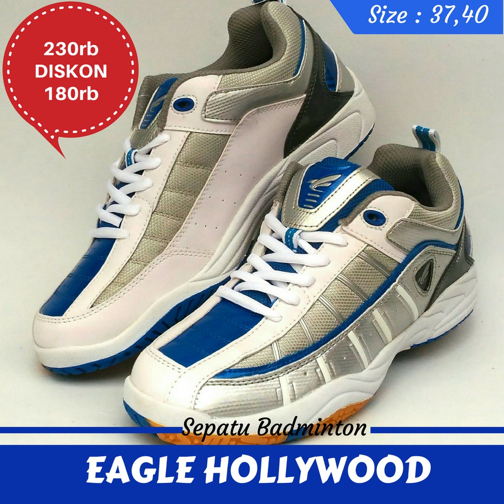 Sepatu Badminton Bulutangkis EAGLE HOLLYWOOD White blue  2653923a74