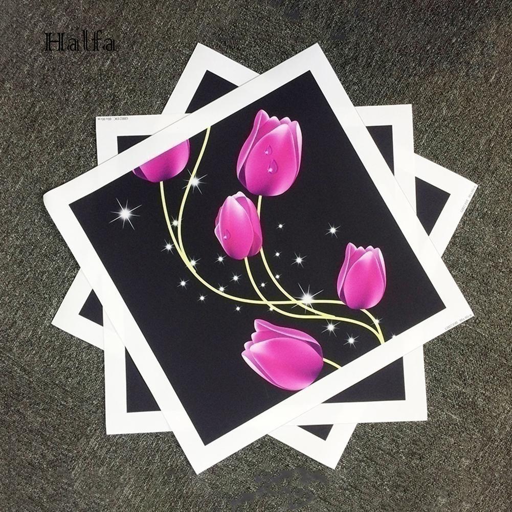 Hl 3pcs Lukisan Bunga Tulip Tanpa Bingkai Hd Untuk Dekorasi Rumah