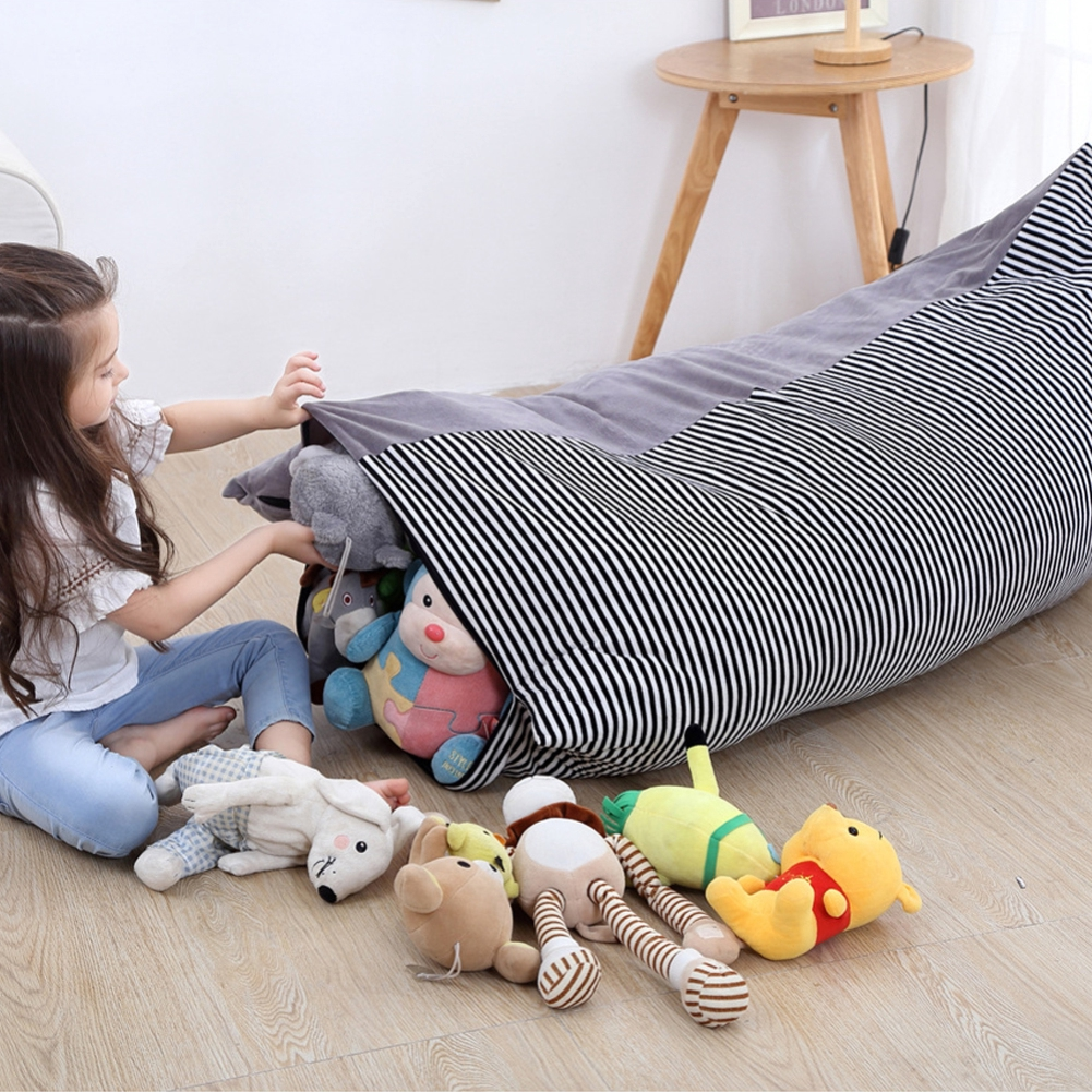Fur Real Stuffed Animals, Wfuture Kids Soft Velvet Bean Bag Stuffed Animal Toy Storage Pouch Organizer Chair Shopee Indonesia