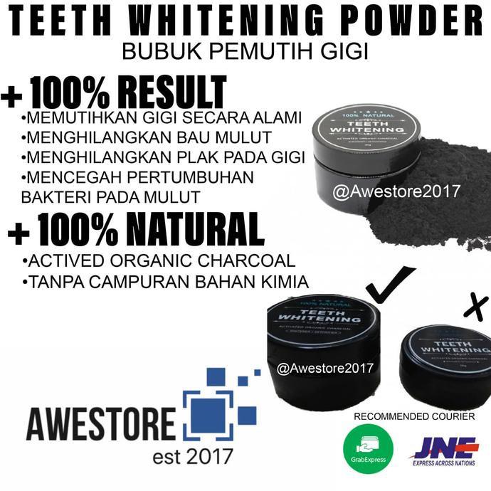 Hot sale Pemutih Gigi Alami Aktif Bubuk Teeth Whitening Powder Coconut  Charcoal  f88396797b