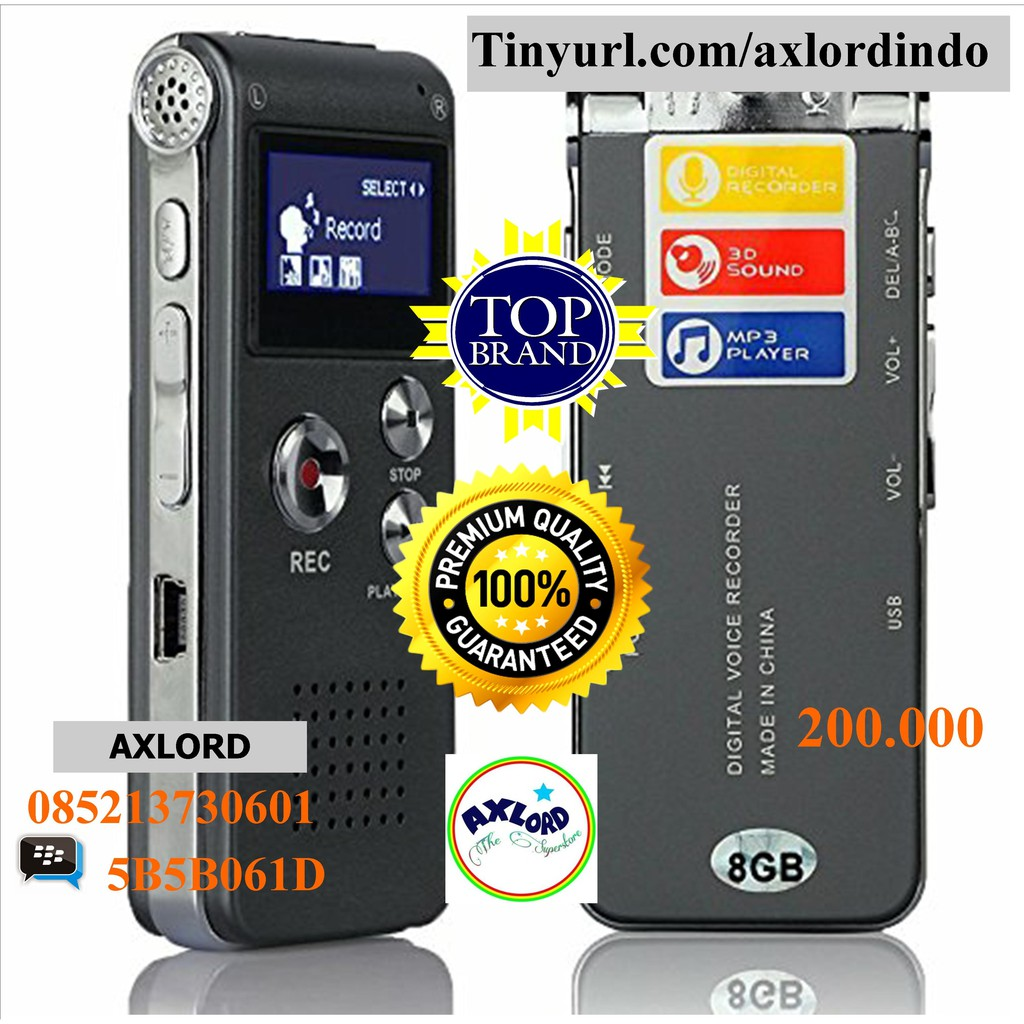 Gs 8gb 60hrs 2 In 1 Digital Audio Suara Voice Loseless Mp3 Recorder Alat Perekam Player Shopee Indonesia