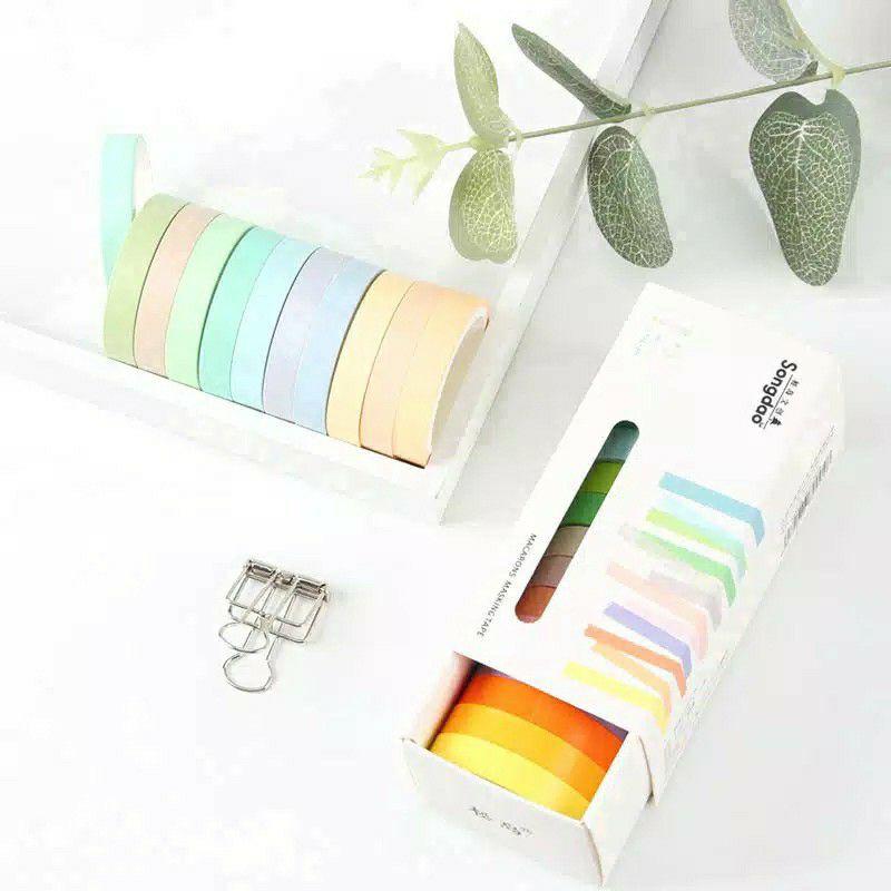 Satuan Washi Tape Macaroon Pastel Colors Selotip Warna Warni Korean Washitape Tumblr Aesthetic Shopee Indonesia