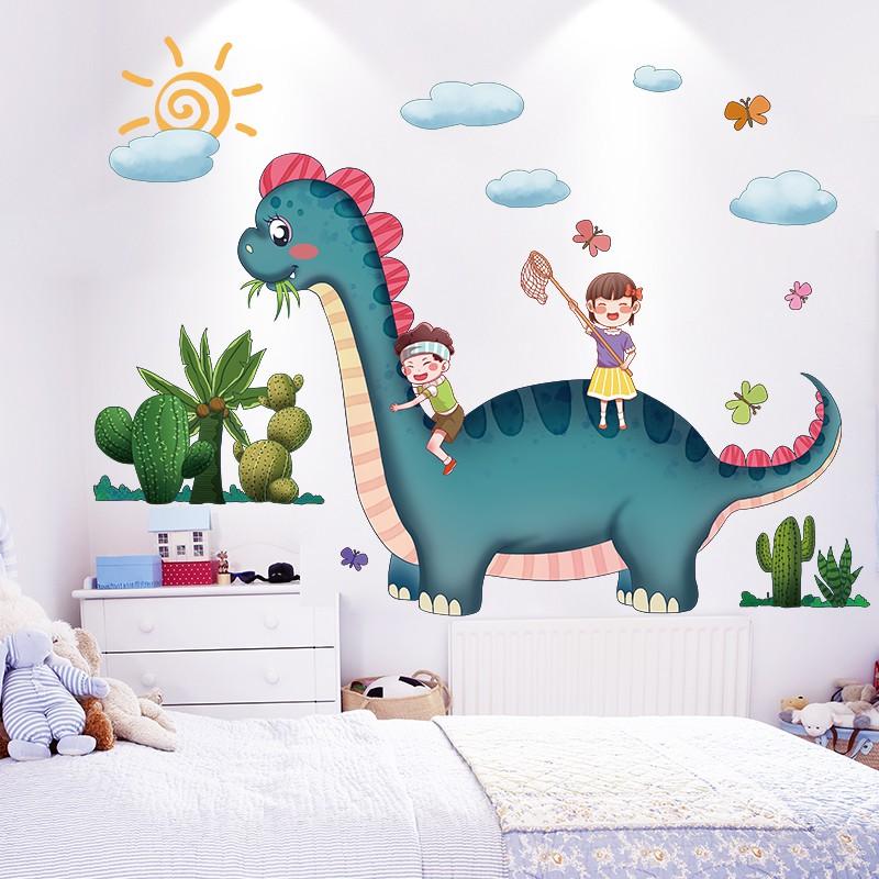 Kamar Anak Anak Hiasan Dinding Kamar Anak Laki Laki Kamar Tidur Kertas Dinding Stiker Dinding Perekat Diri Kartun Dinosaurus Stiker Tata Letak Shopee Indonesia