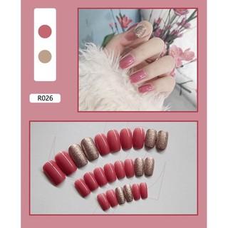 Kuku palsu false fake nails R026 panjang oval merah gold simple polos naill art free lem import thumbnail