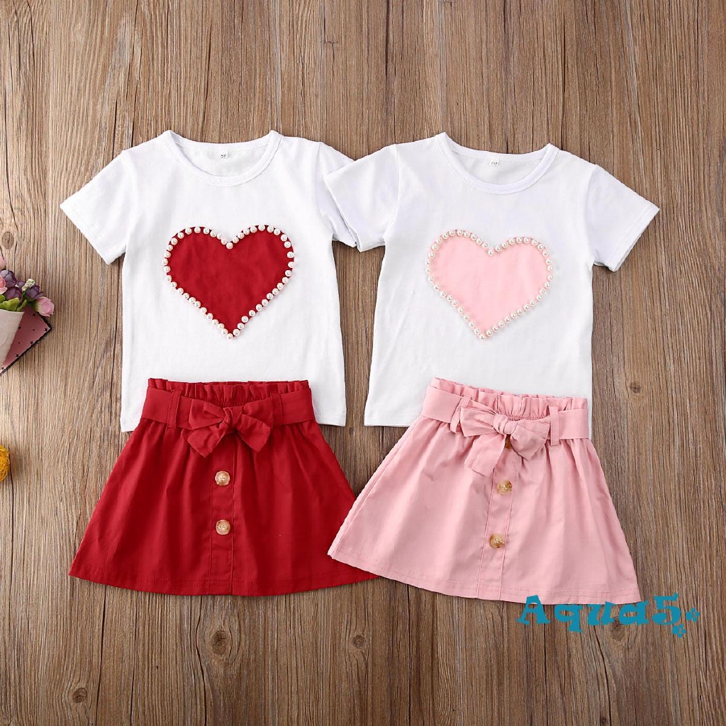 2pcs Toddler Infant Girls Outfits shirt tops Short skirts Summer Clothes Set