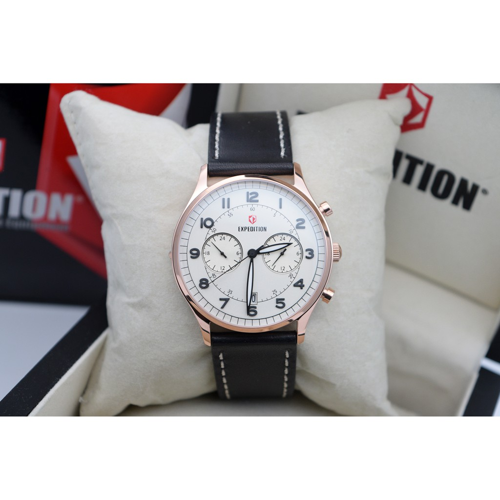 Expedition Exf 6392 Mcltbba Man Black Dial Leather Strap E6392 Full Shopee Indonesia