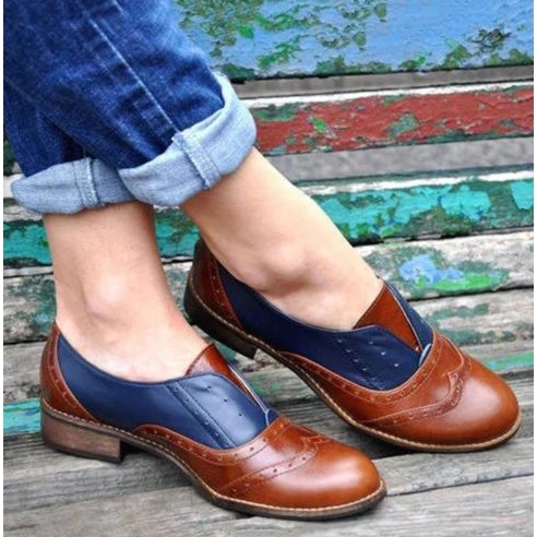 Fashion Womens Brogue British Casual Round Toe Block Mid Heels Wing Tip Shoes